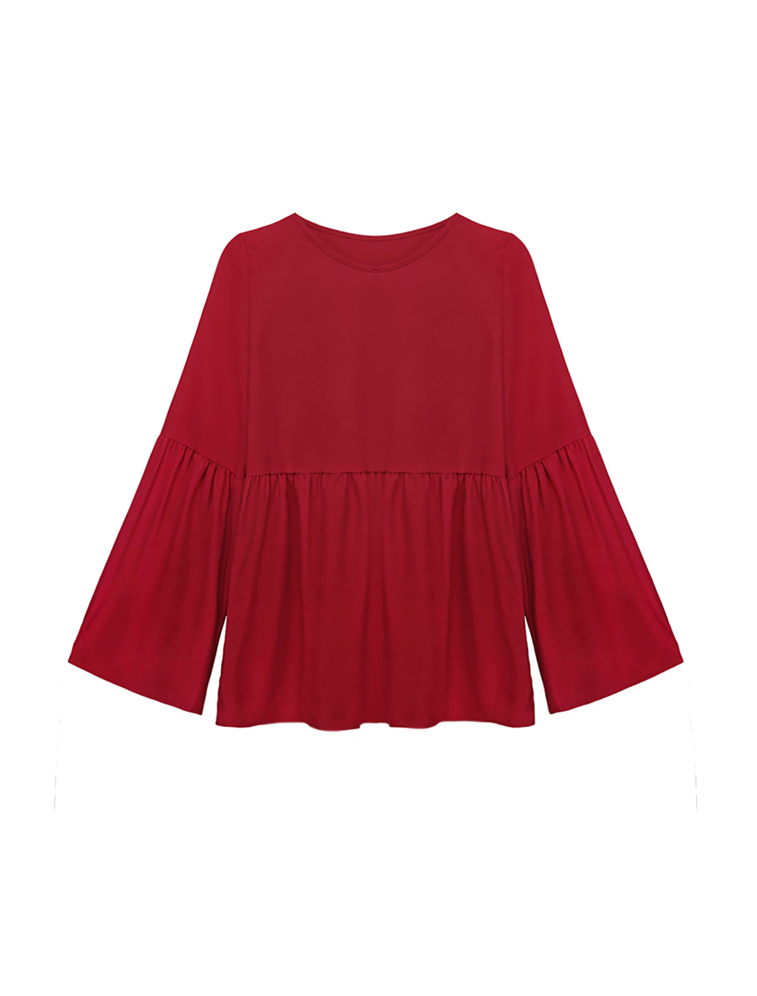 Women Round Neck Bell Sleeves Flouncing Design Tunic Blouse Red S