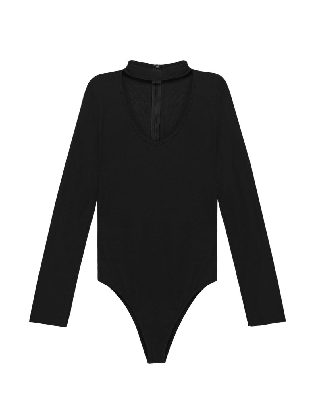 Women Choker Neck Long Sleeves Ribbed Design Slim Fit Bodysuit Black S