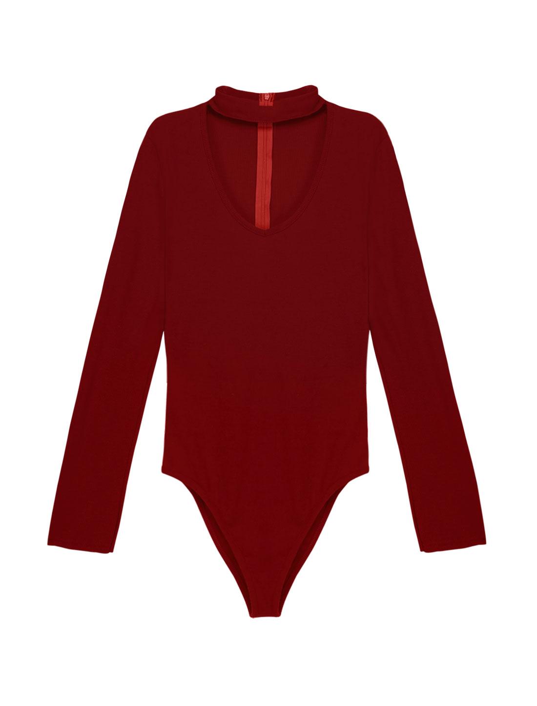 Women Choker Neck Long Sleeves Ribbed Design Slim Fit Bodysuit Burgundy S