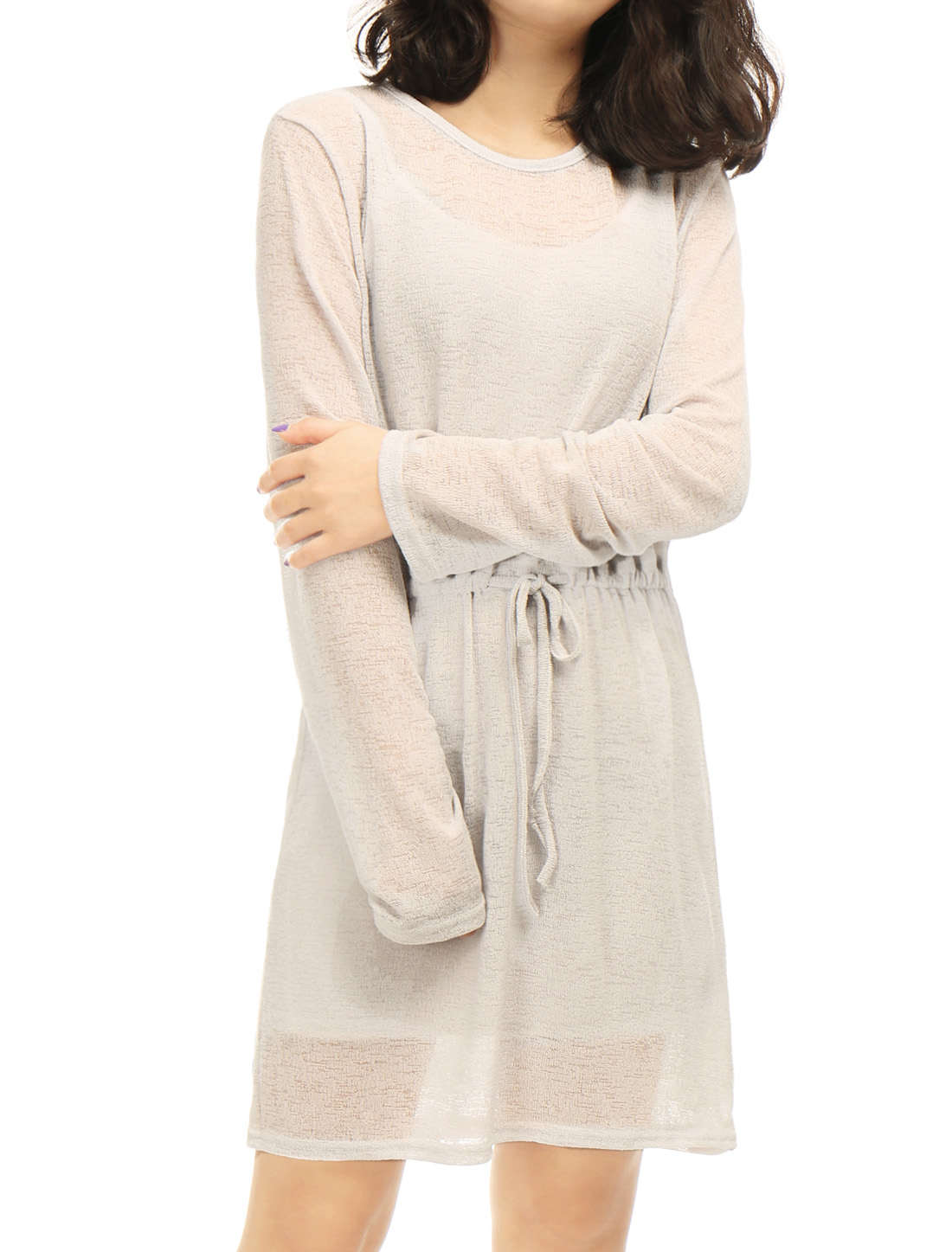 Women Long Sleeves Keyhole Back Semi Sheer Tunic Knitted Dress Gray XS