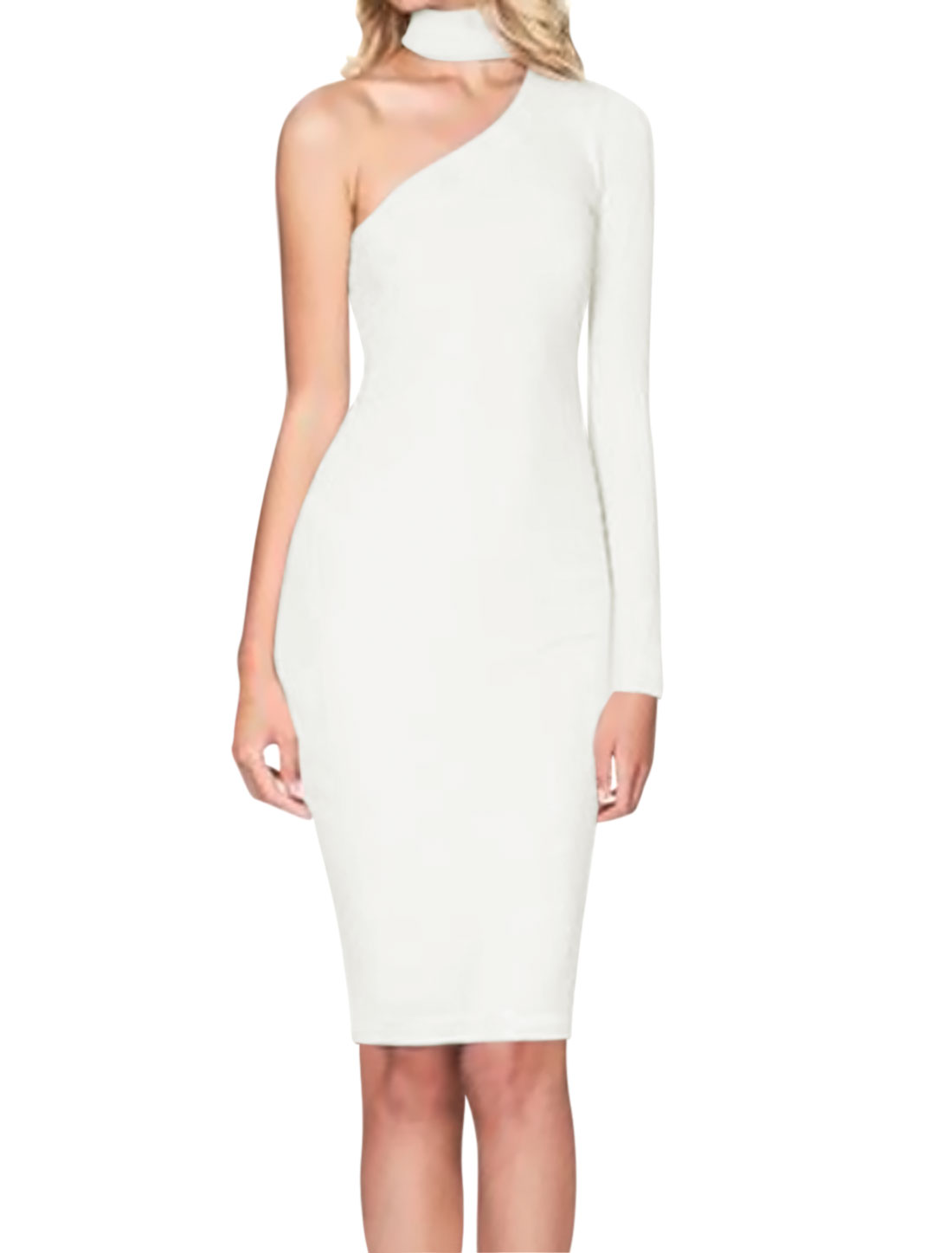 Women Choker Neck One Shoulder Long Sleeves Sheath Dress White M