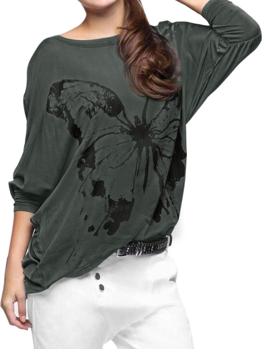 Women Dolman Sleeves Butterfly Pattern Round Hem Loose Tunic Top Gray S