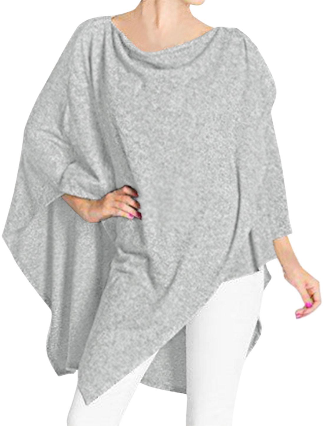 Women One Long Sleeves Asymmetric Hem Overlay Tunic Poncho Top Gray XS