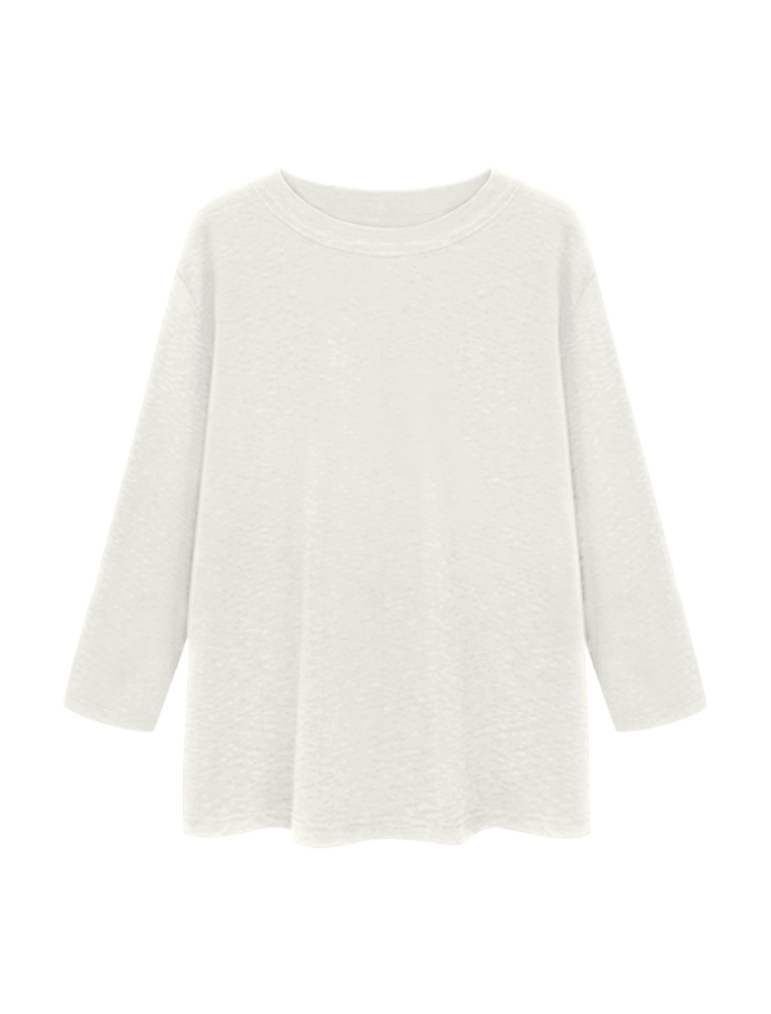 Women Round Neck Long Sleeves Textured Loose Tunic Top White S
