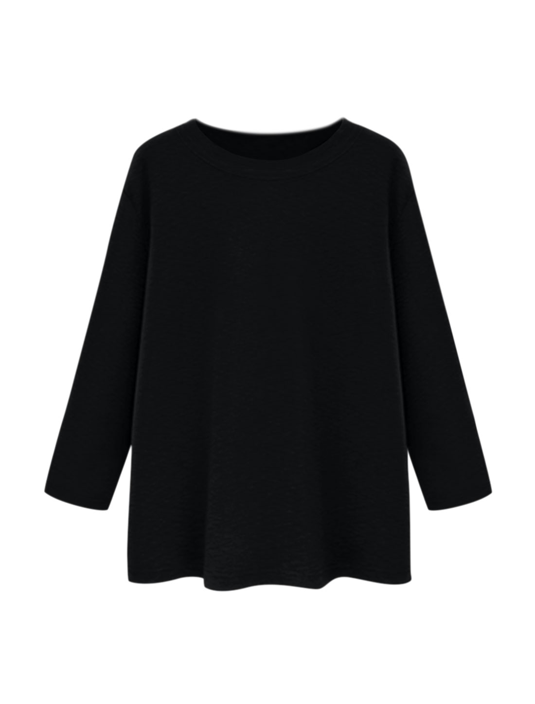 Women Round Neck Long Sleeves Textured Loose Tunic Top Black S