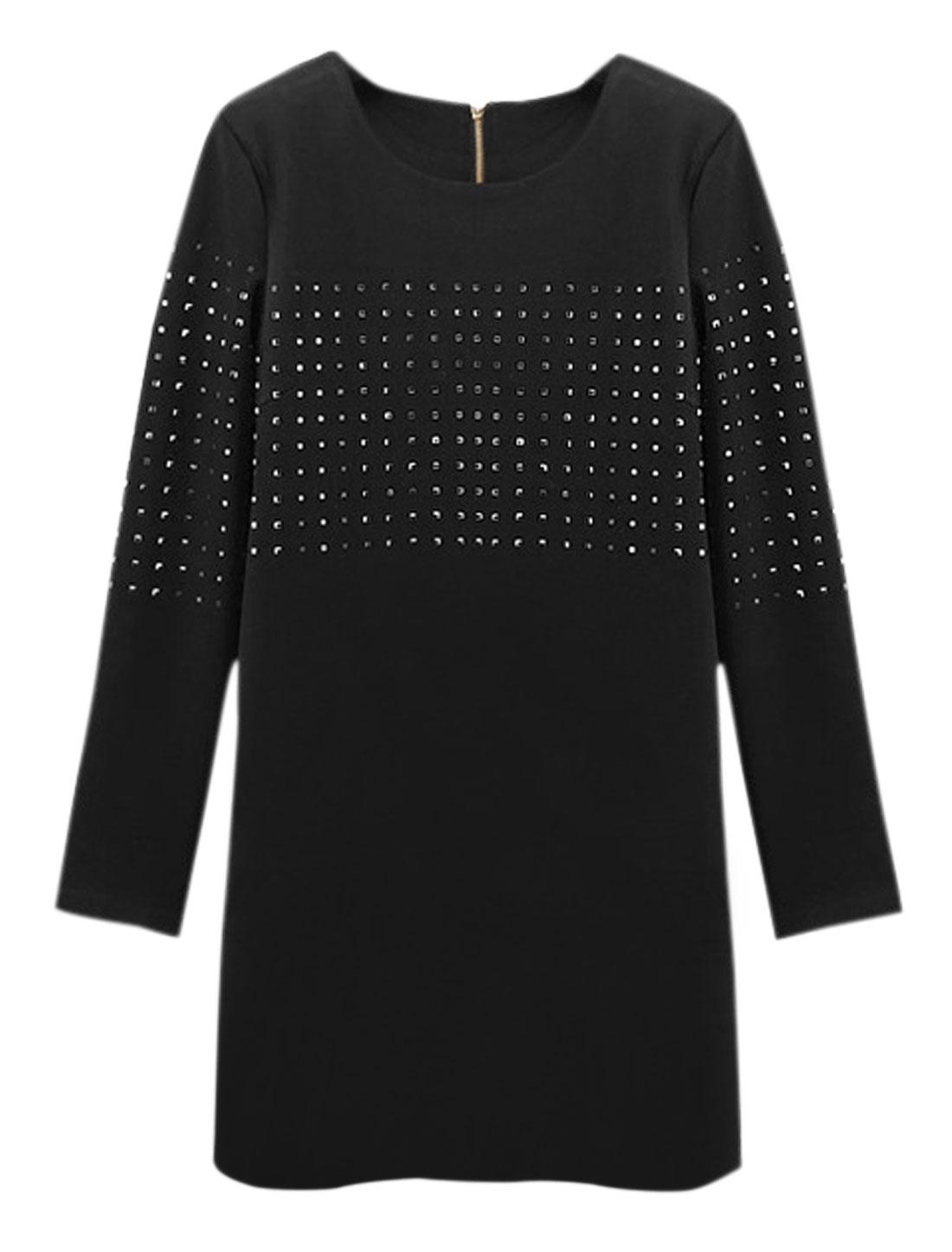 Women Long Sleeves Rhinestone Embellished Loose Tunic Dress Black S