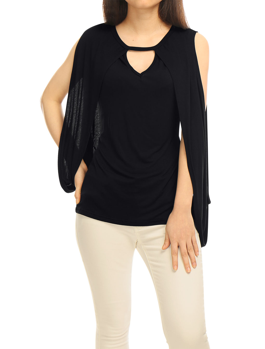 Women Sleeveless Keyhole Front Poncho Design Slim Fit Top Black S