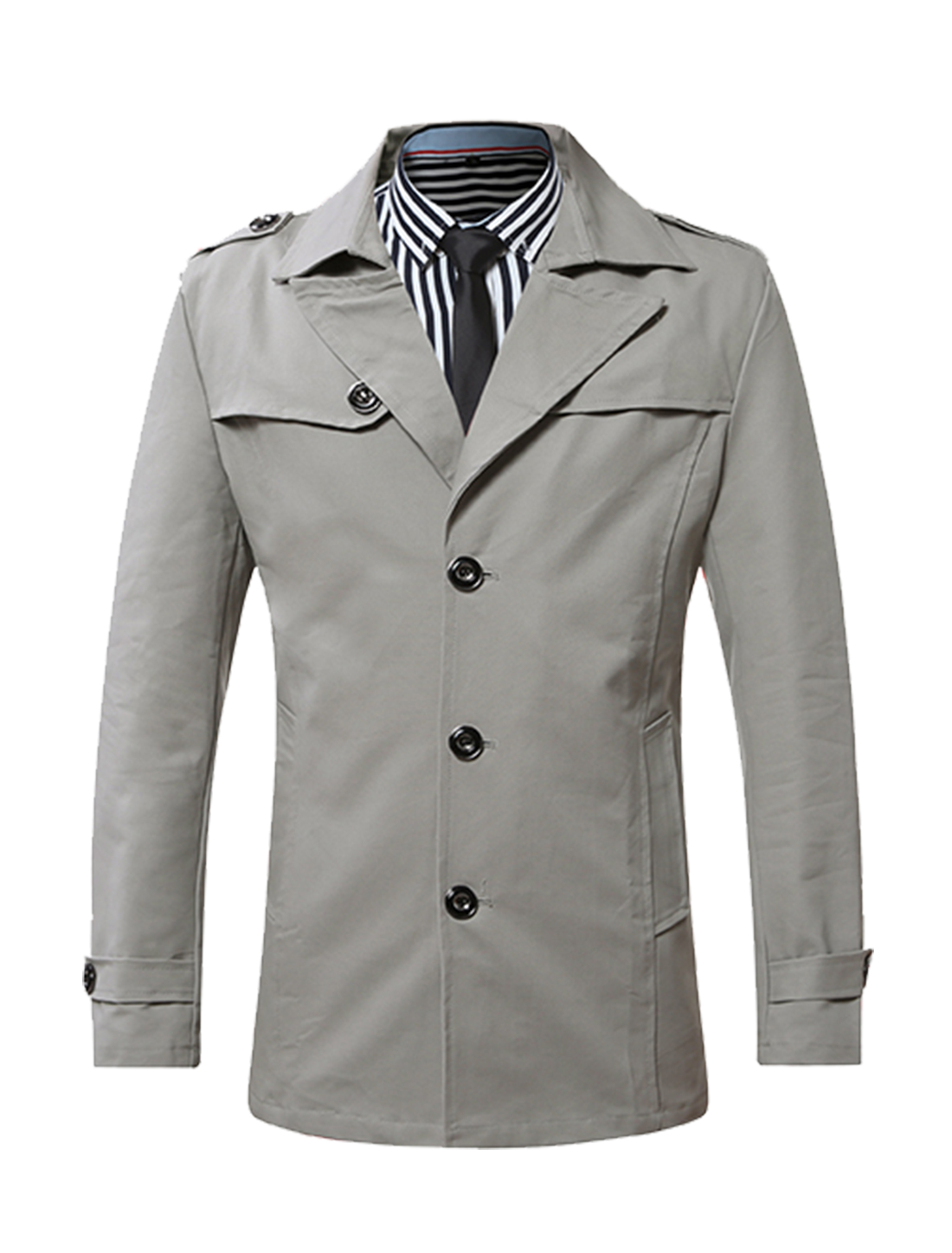 Men Split Lapel Single Breasted Buttoned Longline Trench Coat Gray M