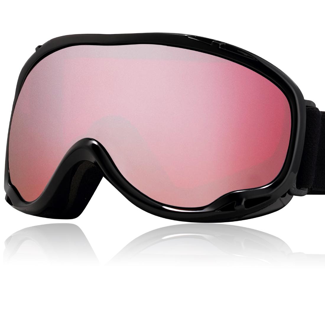 Uxcell Ski Glasses Snowboard Goggles UV400 Protect Anti-fog YH607 Vermilion