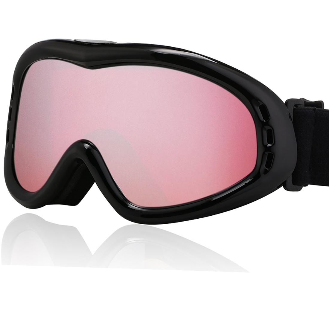 Uxcell Ski Glasses Snowboard Goggles UV400 Protect Anti-fog YH632 Vermillon