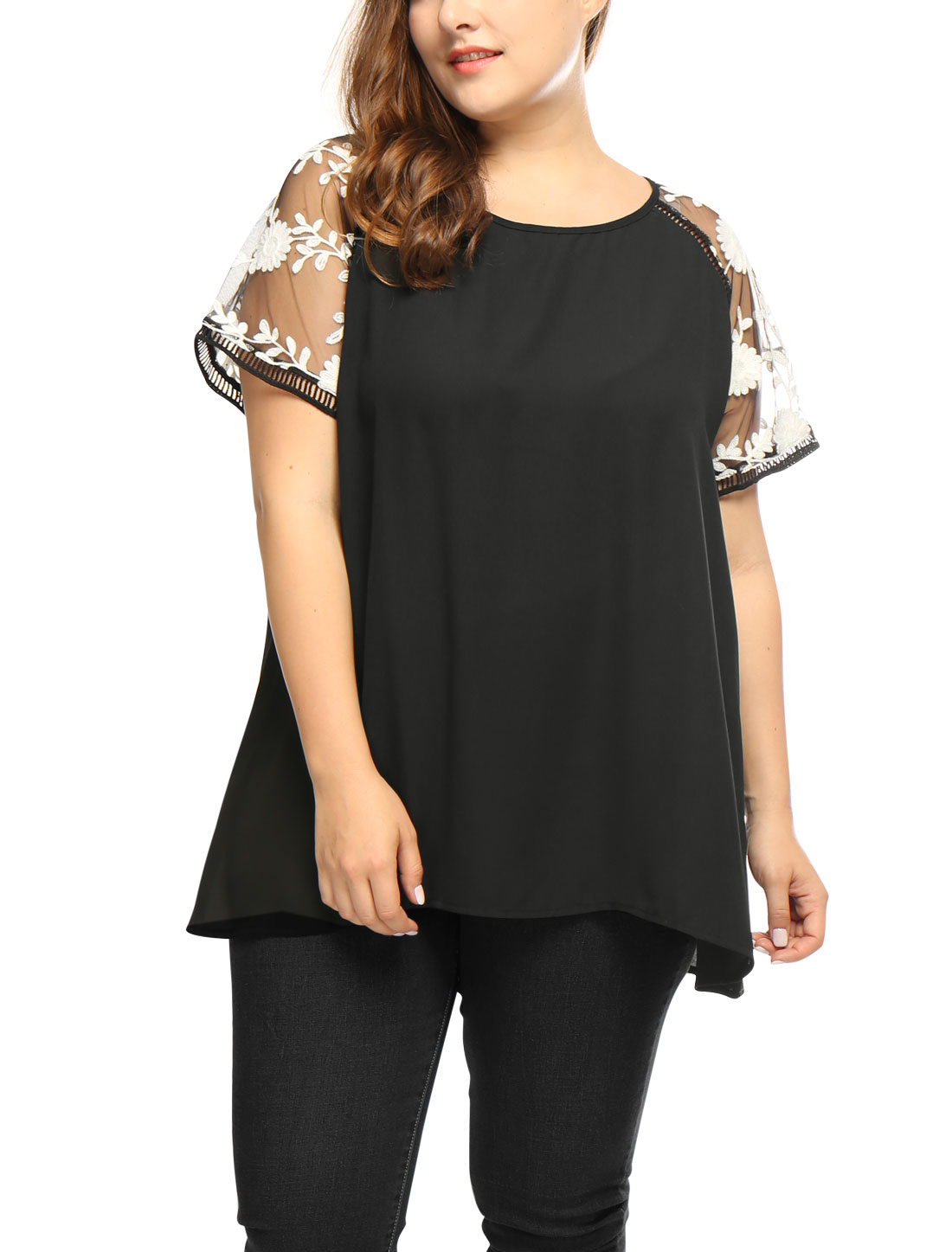 Women Plus Size Crochet Mesh Panel Sheer Raglan Sleeves Top Black 2X