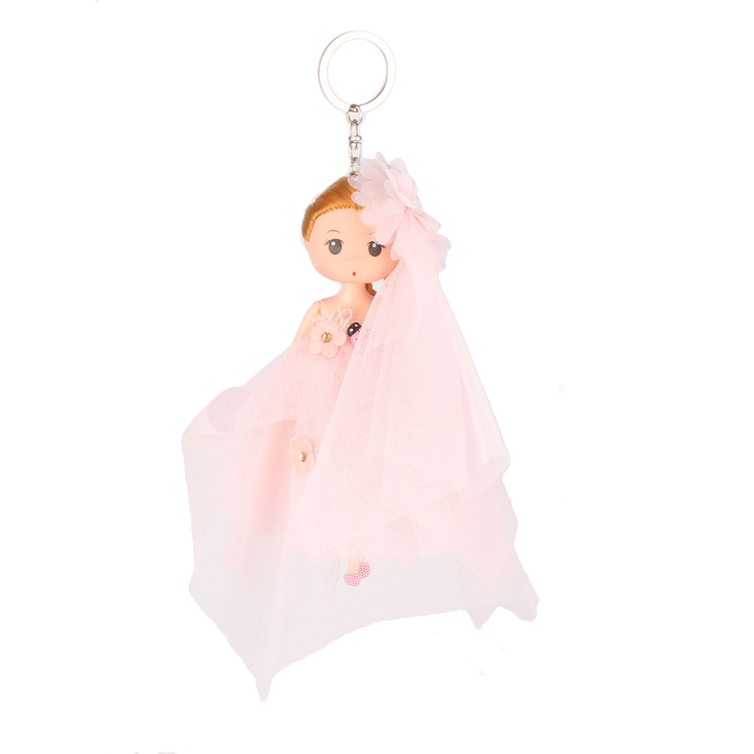 Girl Toy Detail Pendant Pouch Pocket Doll Keychain Key Ring Loop Colorful