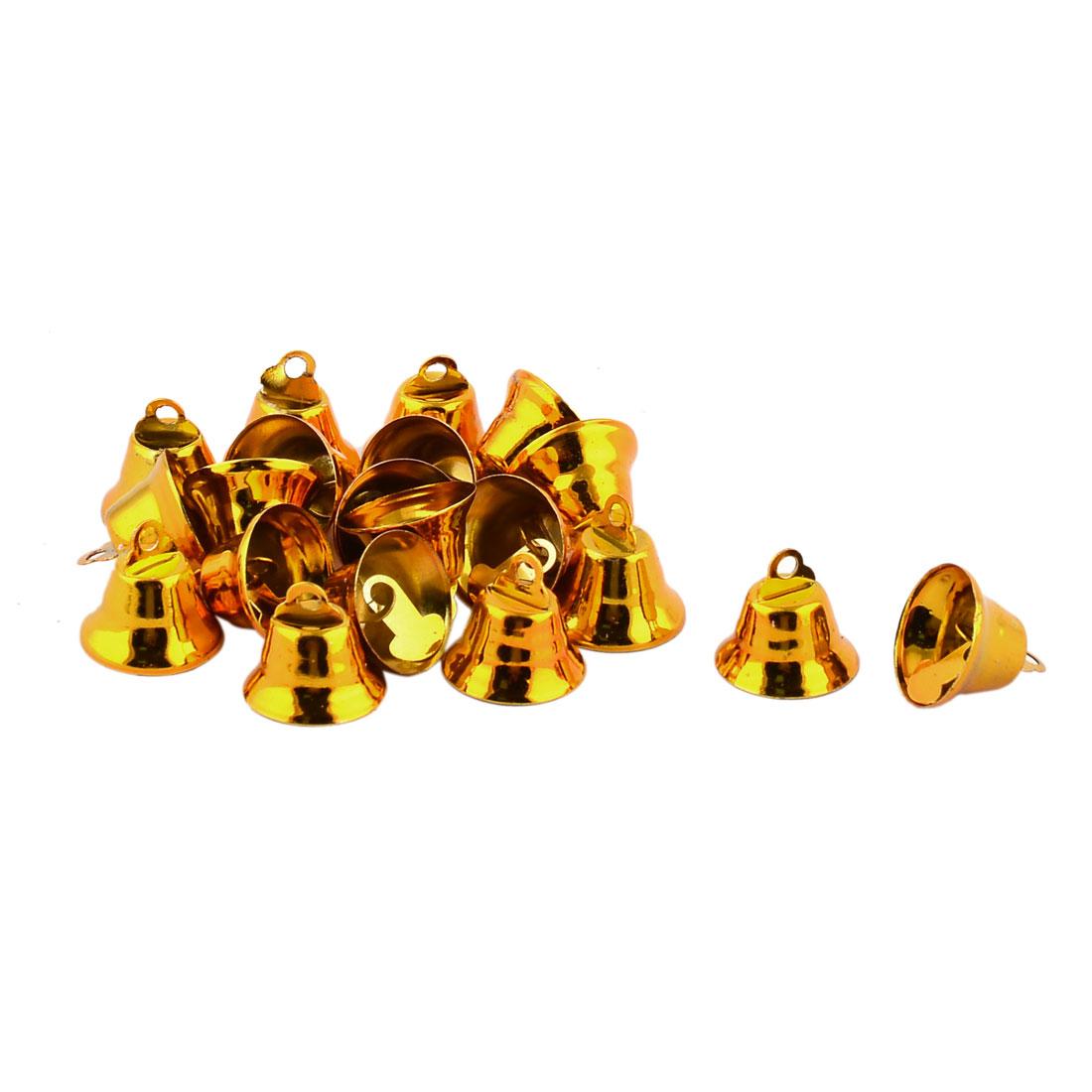 Christmas Chime Pendant Wholesale Decorative Mini Jingle Bell Gold Tone 20 Pcs