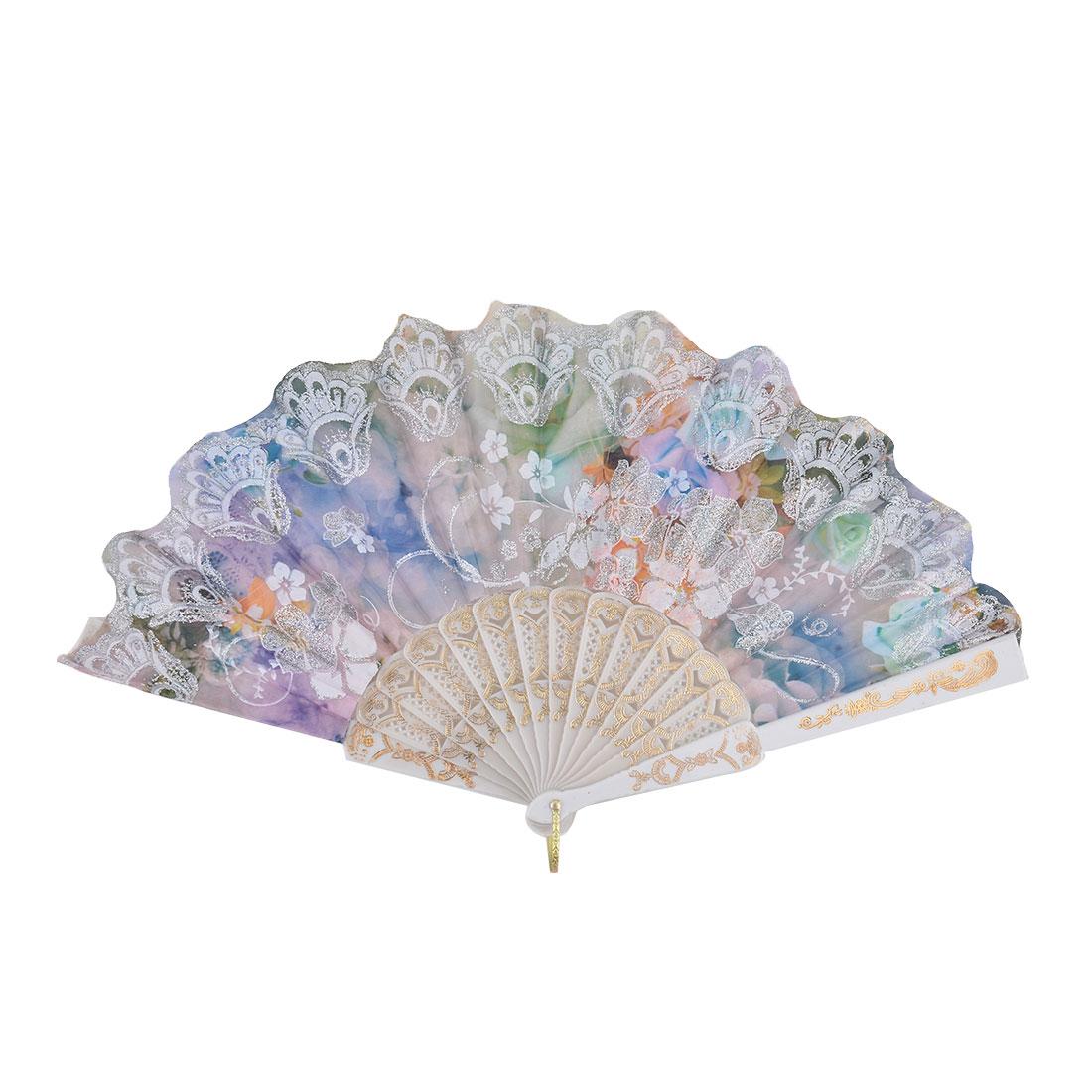 Lady Dancing Plastic Flower Pattern Powder Detail Exquisite Pocket Folding Fan