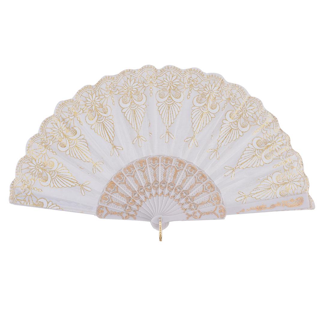 Lady Party Dancing Flower Pattern Powder Detail Exquisited Handy Folding Fan