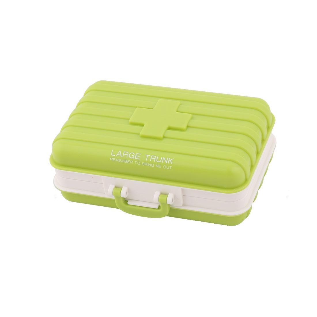 Plastic Suitcase Design 6 Slots Medicine Pill Capsule Storage Box Organizer Green