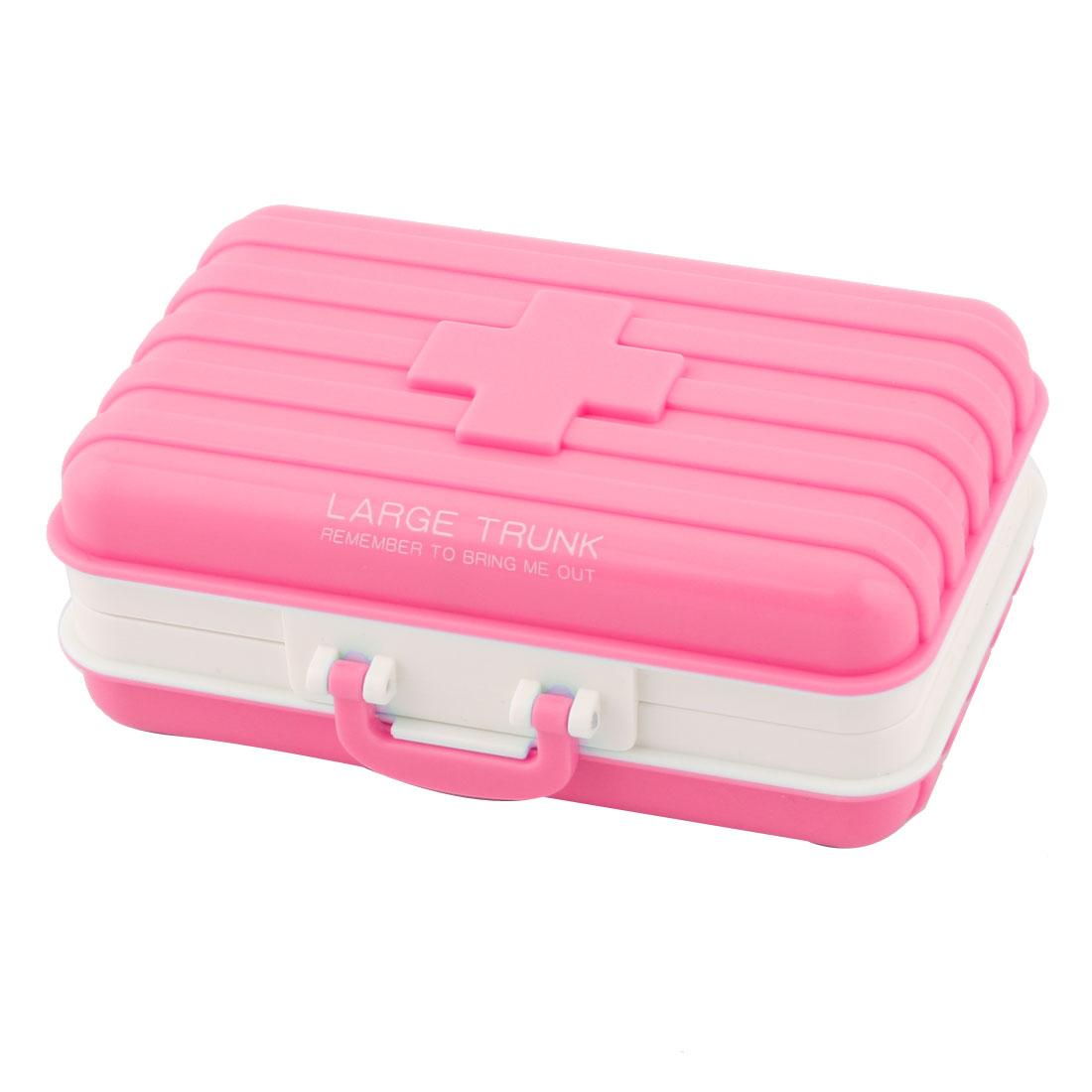 Plastic Suitcase Design 6 Slots Medicine Pill Capsule Storage Box Organizer Pink