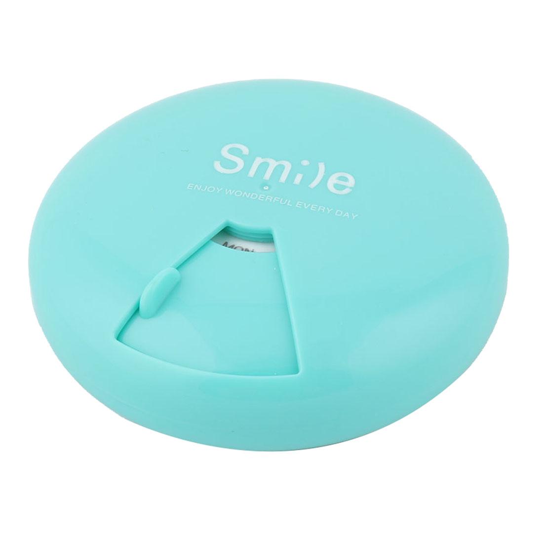 Plastic Round Shape 7 Slots Rotatable Medicine Pill Capsule Storage Box Cyan
