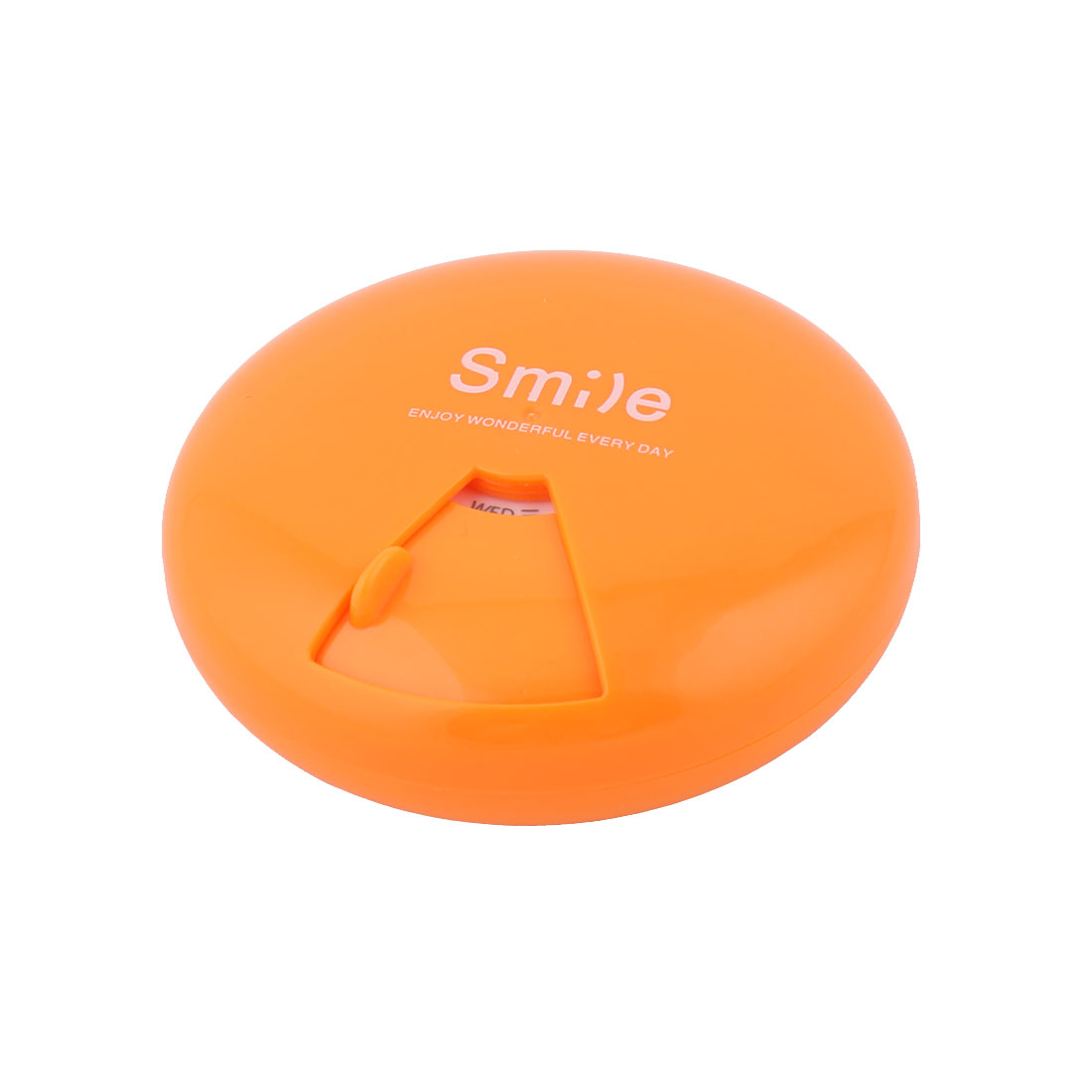 Plastic Round Shape 7 Slots Rotatable Medicine Pill Capsule Storage Box Orange