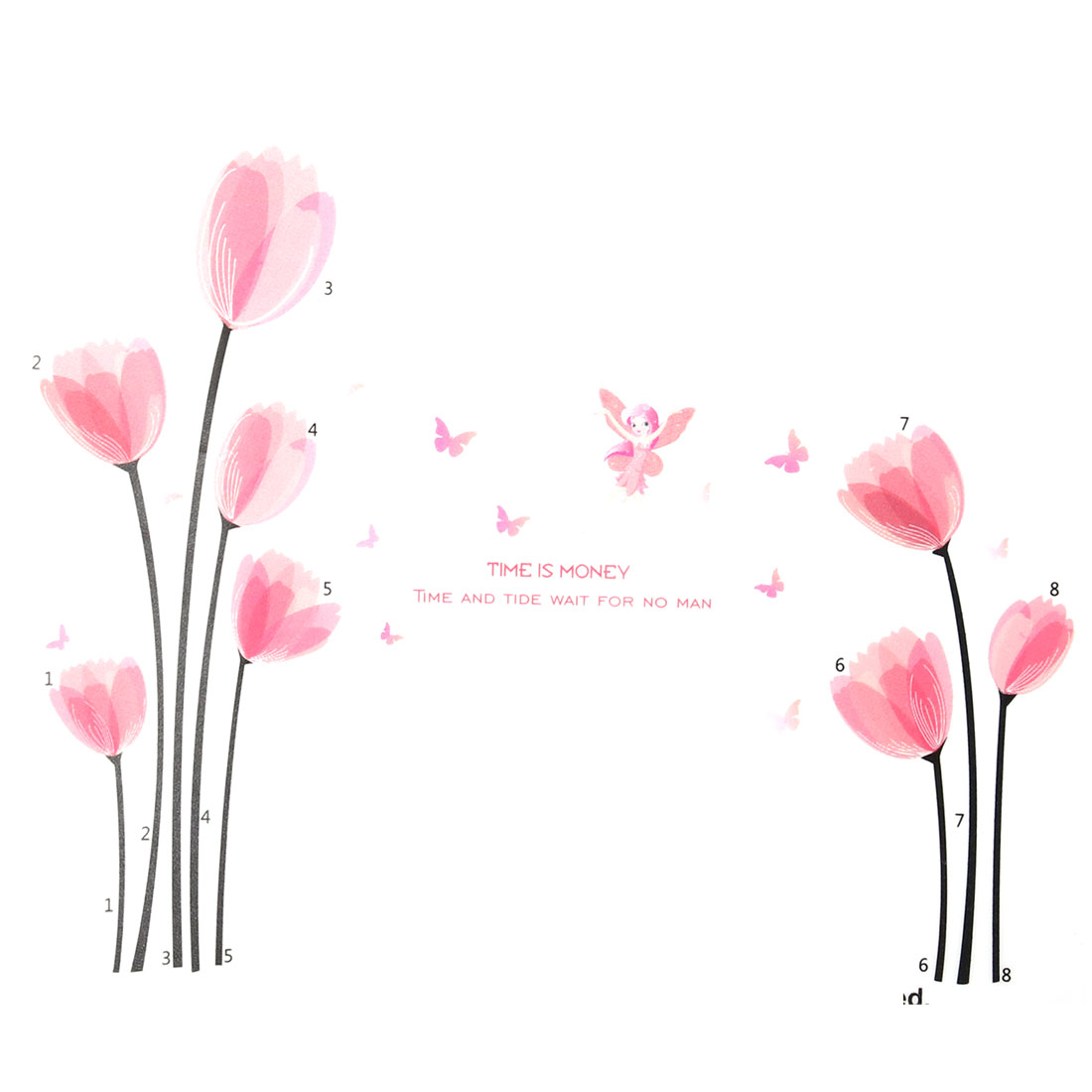Bedroom PVC Flower Butterfly Print Decoration Removable Wall Sticker Decal Pink