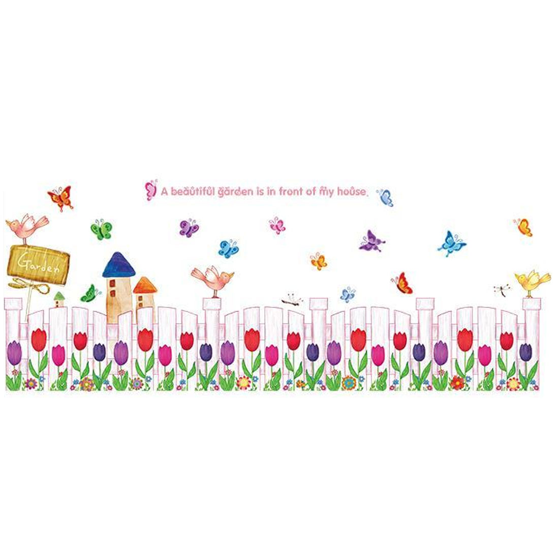 Home Bedroom PVC Fence Tulip Printed Removable Decoration Wall Sticker Decal Multicolor