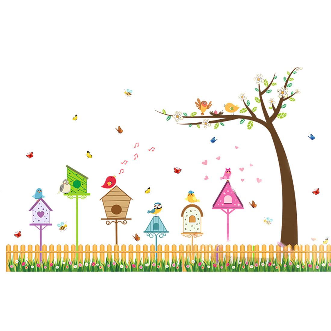 Household PVC Fence Birds Pattern Self-adhesive Decoration Wall Sticker Colorful