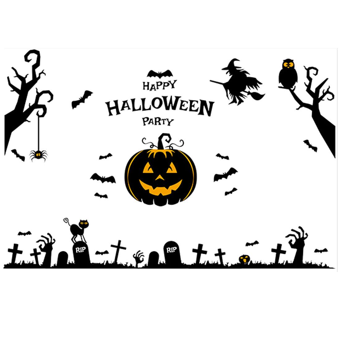 Home PVC Pumpkin Cross Pattern Self-adhesive Halloween Decor Wall Sticker Black