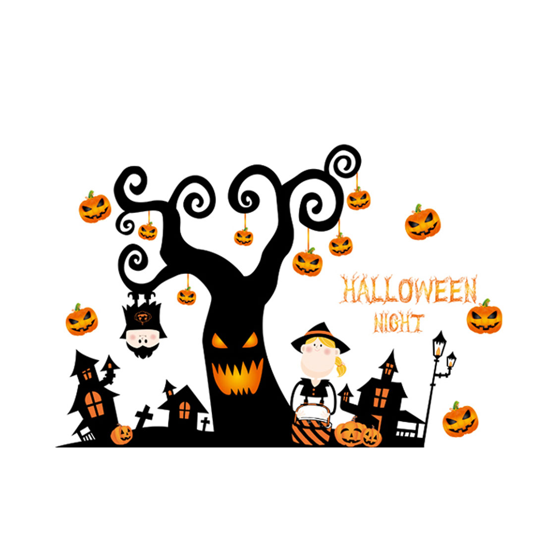 Home PVC Pumpkin Tree Print Halloween Decoration Wall Sticker Decal Orange Black