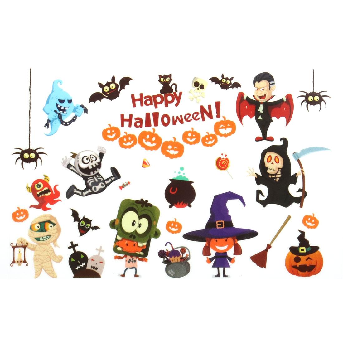 Bedroom PVC Pumpkin Bat Print Halloween Decoration Wall Sticker Decal Multicolor