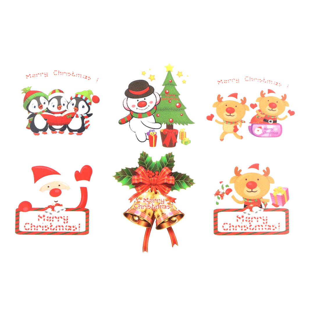 Family Christmas Day Decor Snowman Deer Penguin Pattern Wall Sticker Multicolor
