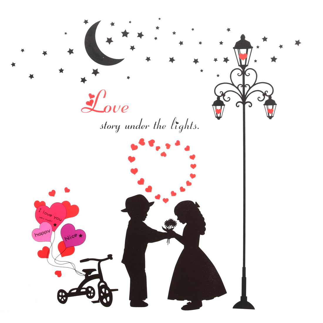 Household Decoration Couple Pattern Cabinet Wall Sticker Black Red 90 x 60cm