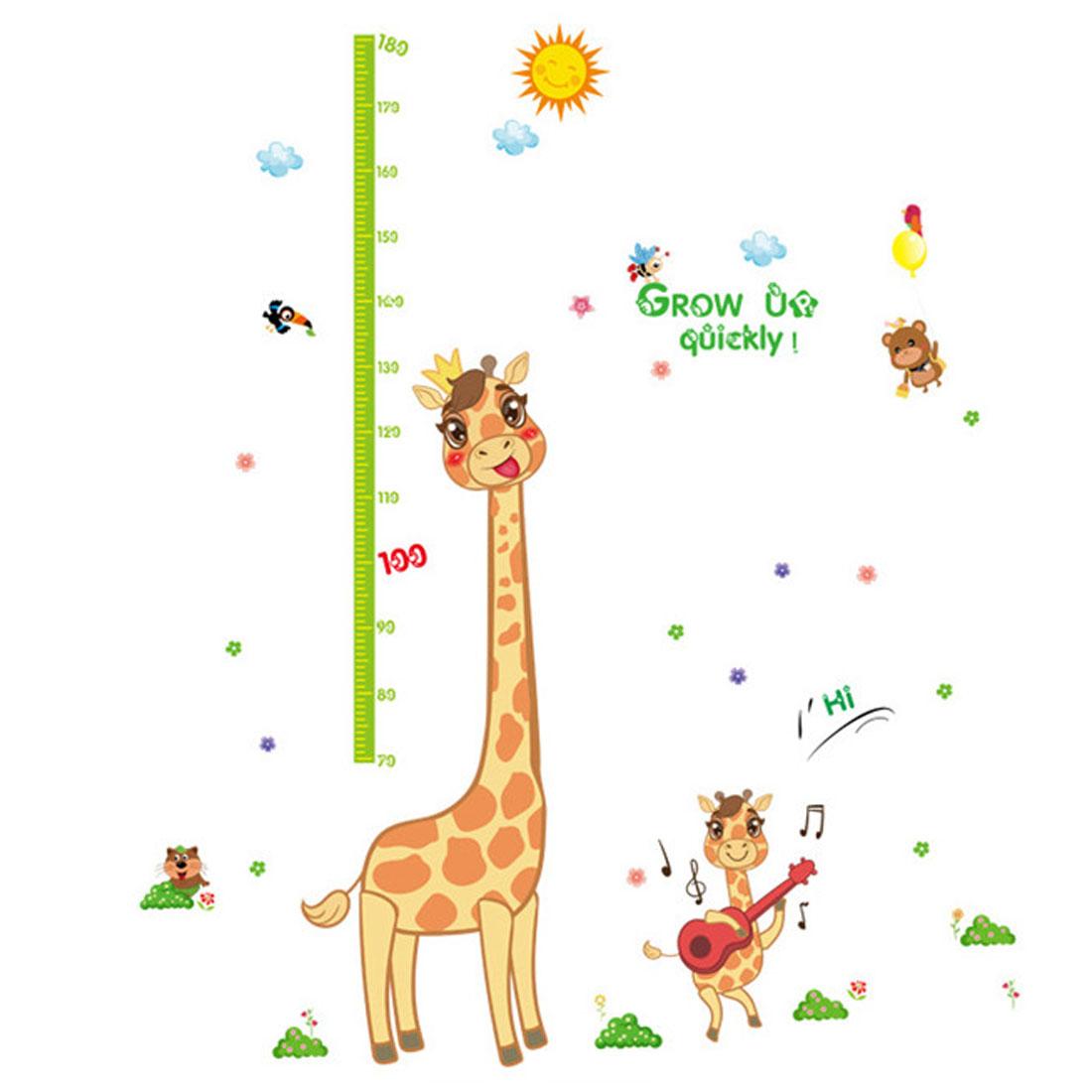 Home Bedroom PVC Giraffe Grass Print Self-adhesive Decoration Wall Sticker Decal Multicolor