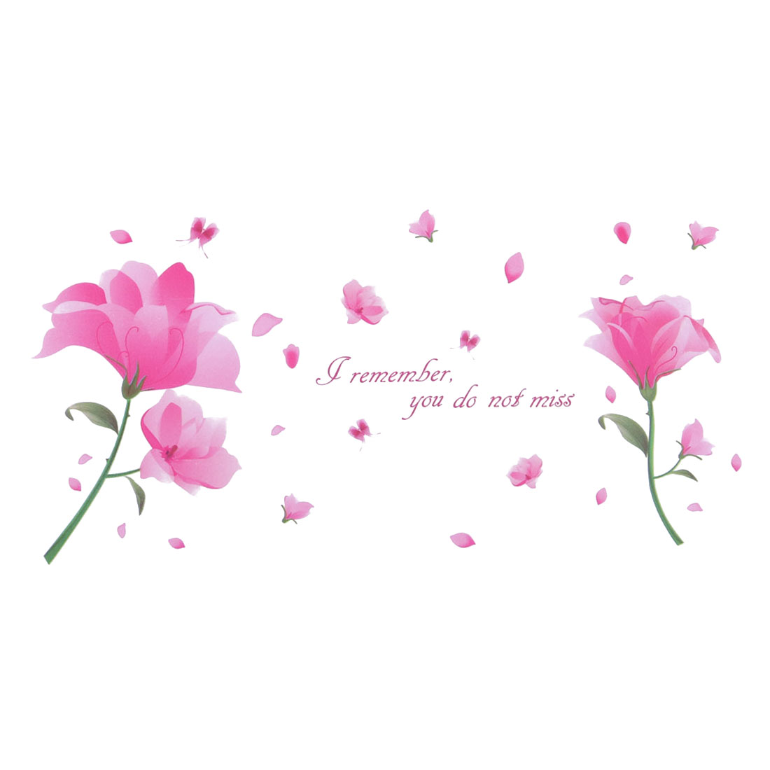 Home Bedroom PVC Flower Petals Pattern Self-adhesive Removable Wall Sticker Decal Pink