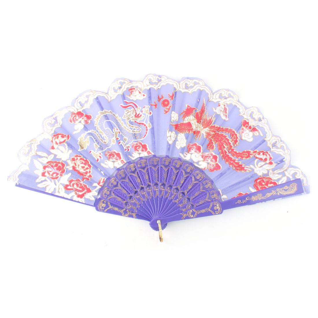 Dancing Dragon Phoenix Pattern Folding Chinese Folk Dance Handheld Fan Purple