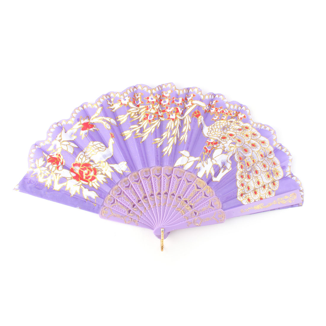Flower Peacock Pattern Folding Chinese Folk Dance Fan Purple 17 Inch Width