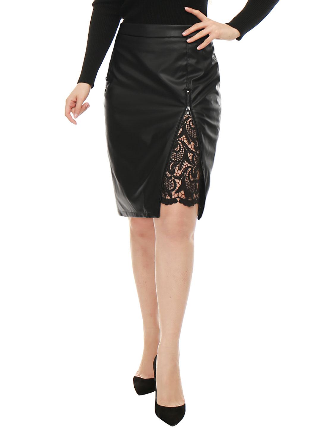 Women High Waist Lace Insert Zip Front PU Pencil Skirt Black XL