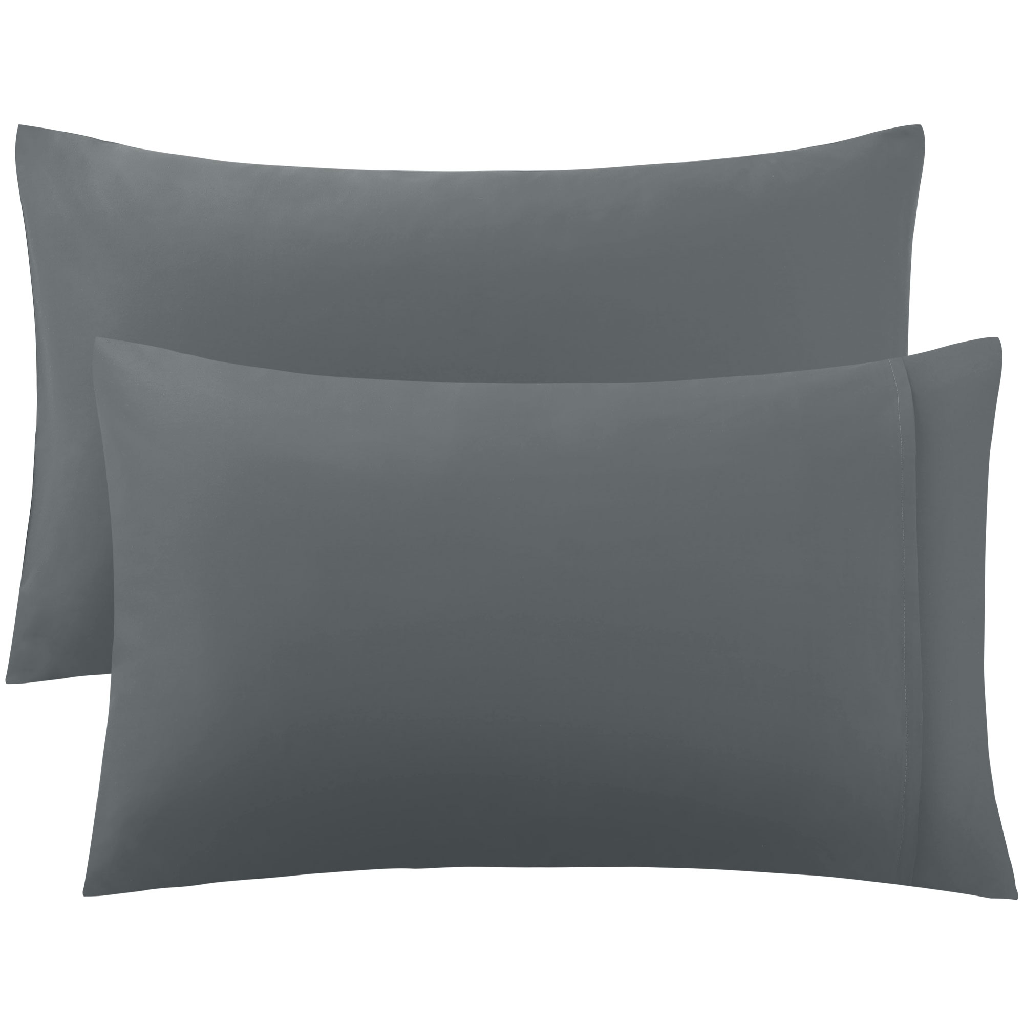 PiccoCasa 300 Thread Count Egyptian Cotton King Size Pillowcases Pillow Cases Covers Set of 2 Dark Gray