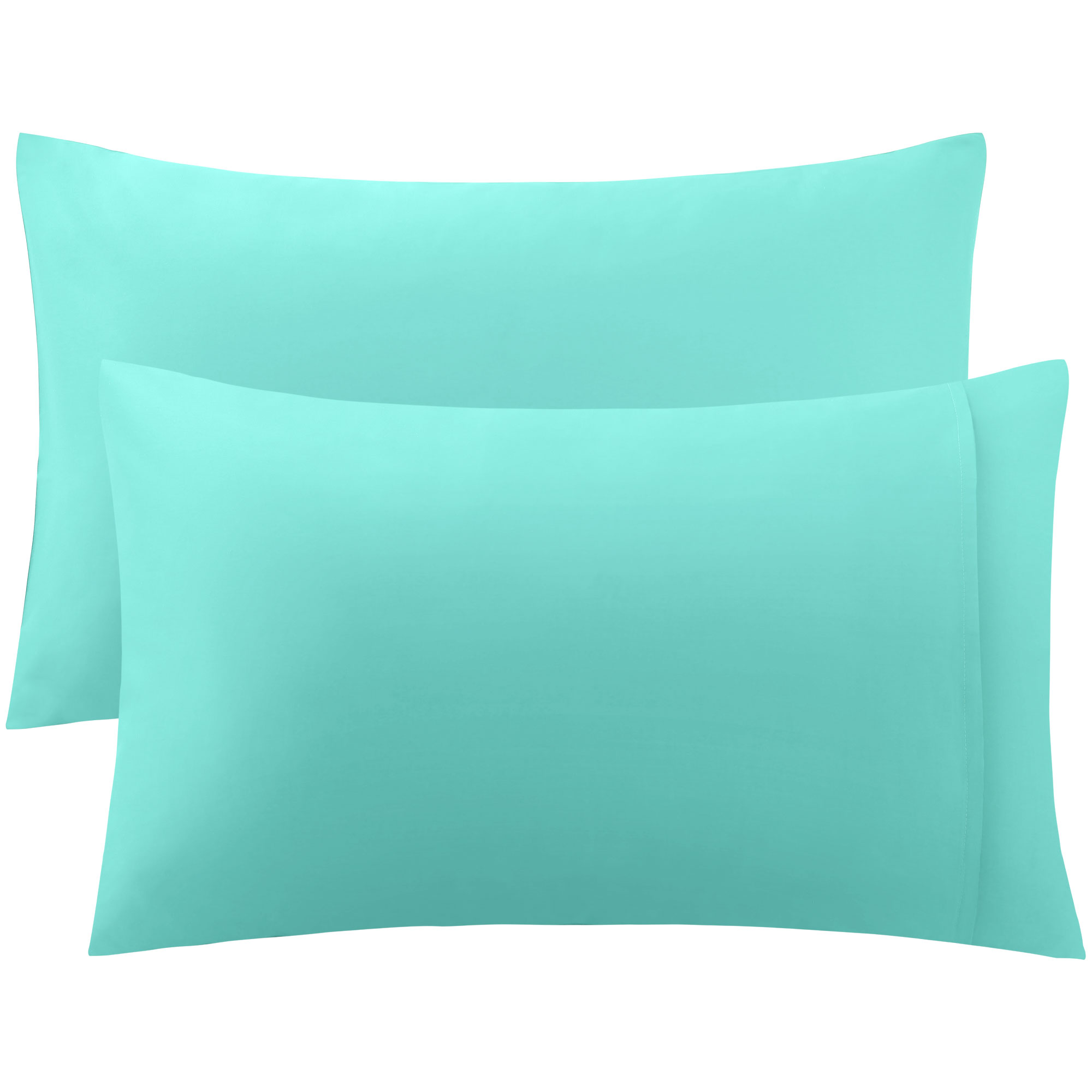 PiccoCasa 300 Thread Count Egyptian Cotton King Size Pillowcases Pillow Cases Covers Set of 2 Light Blue