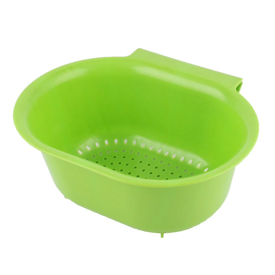 Home Kitchenware Plastic Hollow Out Fruit Vegetable Washing Tool Basket Strainer Green