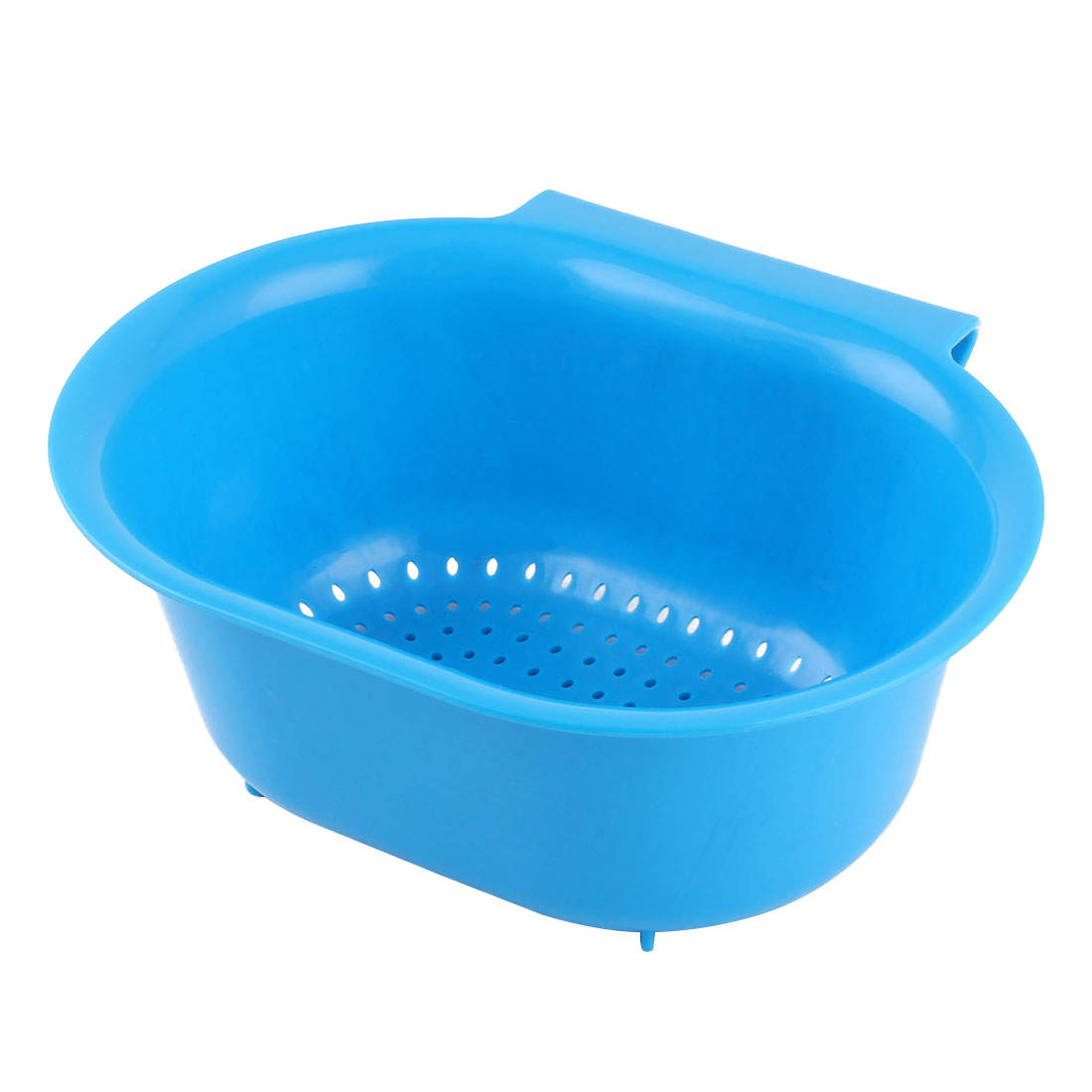 Home Kitchenware Plastic Hollow Out Fruit Vegetable Washing Tool Basket Strainer Blue