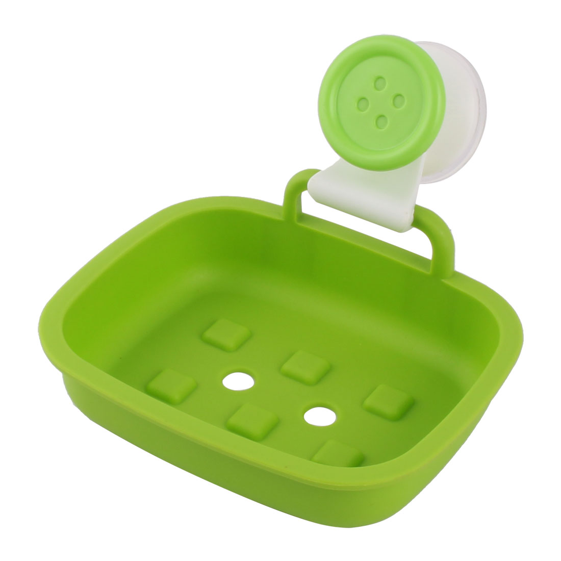 Household Plastic Rectangle Wall Mounted Suction Shower Soap Container Draining Box Green