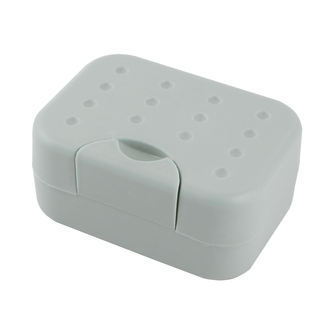 Household Travel Outside Plastic Rectangle Shower Soap Holder Box Dish Container Gray