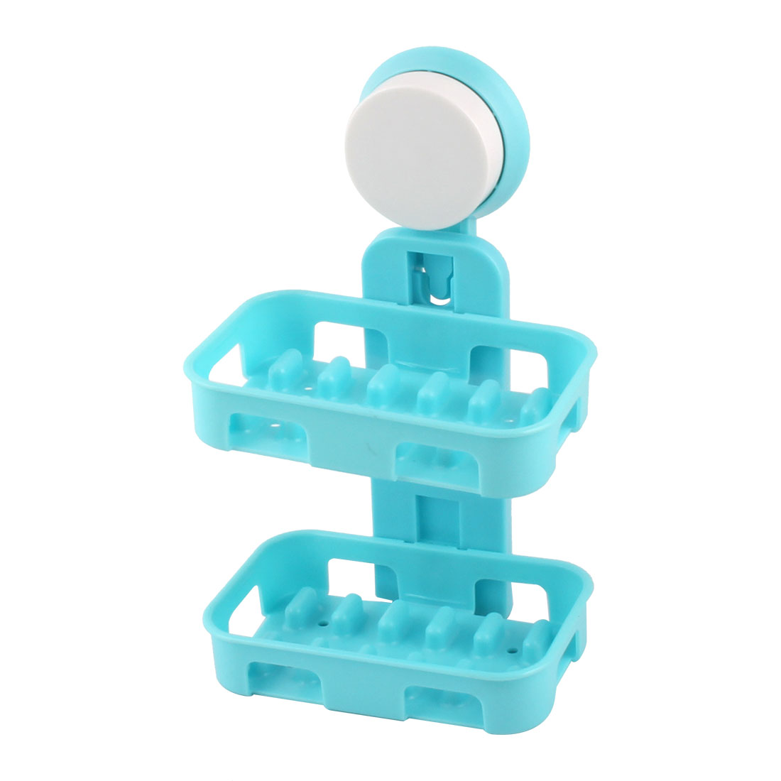 Bathroom Plastic Rectangle Double Layers Suction Shower Soap Holder Box Dish Container Blue