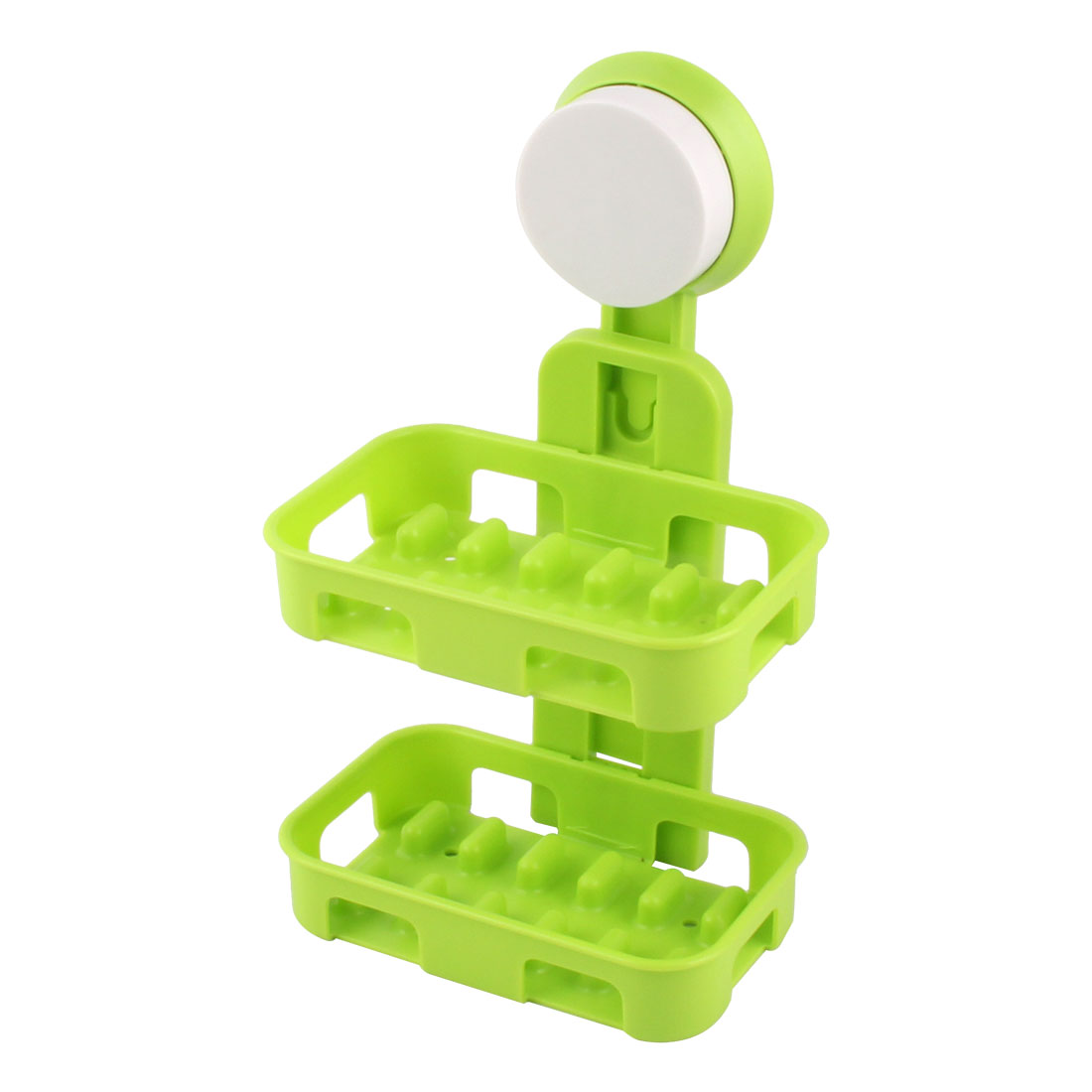 Bathroom Plastic Rectangle Double Layers Suction Soap Holder Box Container Green
