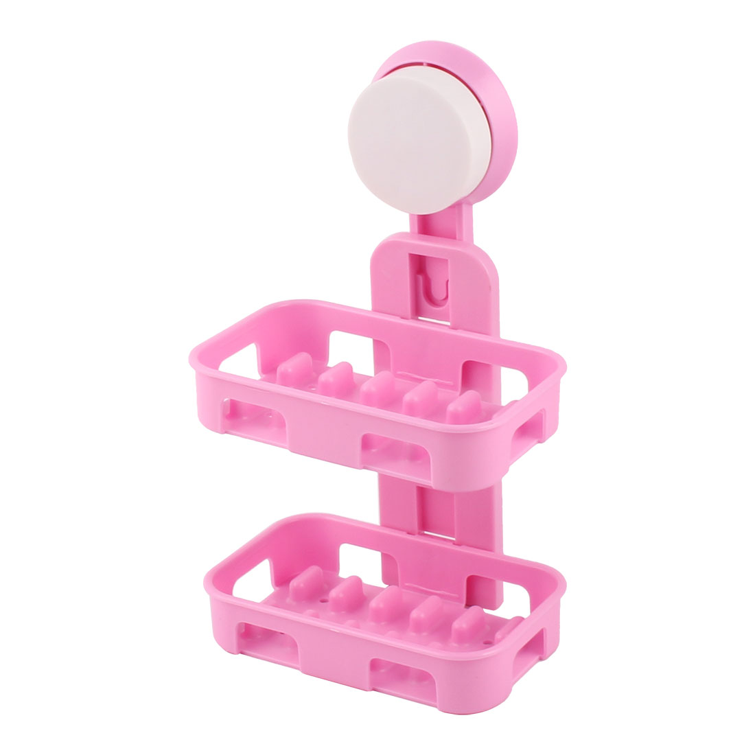 Bathroom Plastic Rectangle Double Layers Suction Shower Soap Holder Box Dish Container Pink