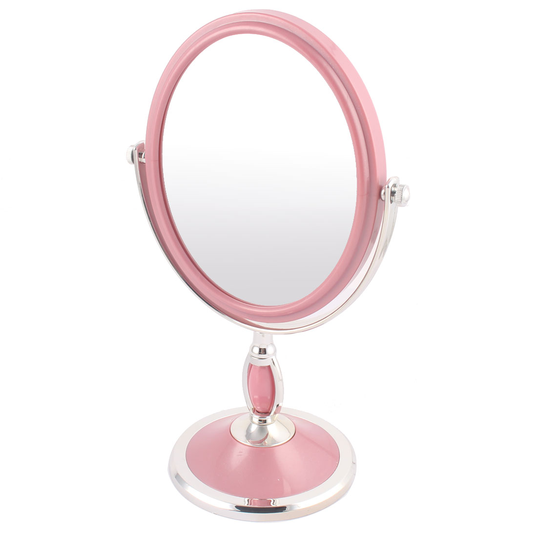 Household Toiletry Shop Plastic Oval Desktop Self Stand Two Side Makeup Compact Mirror Pink
