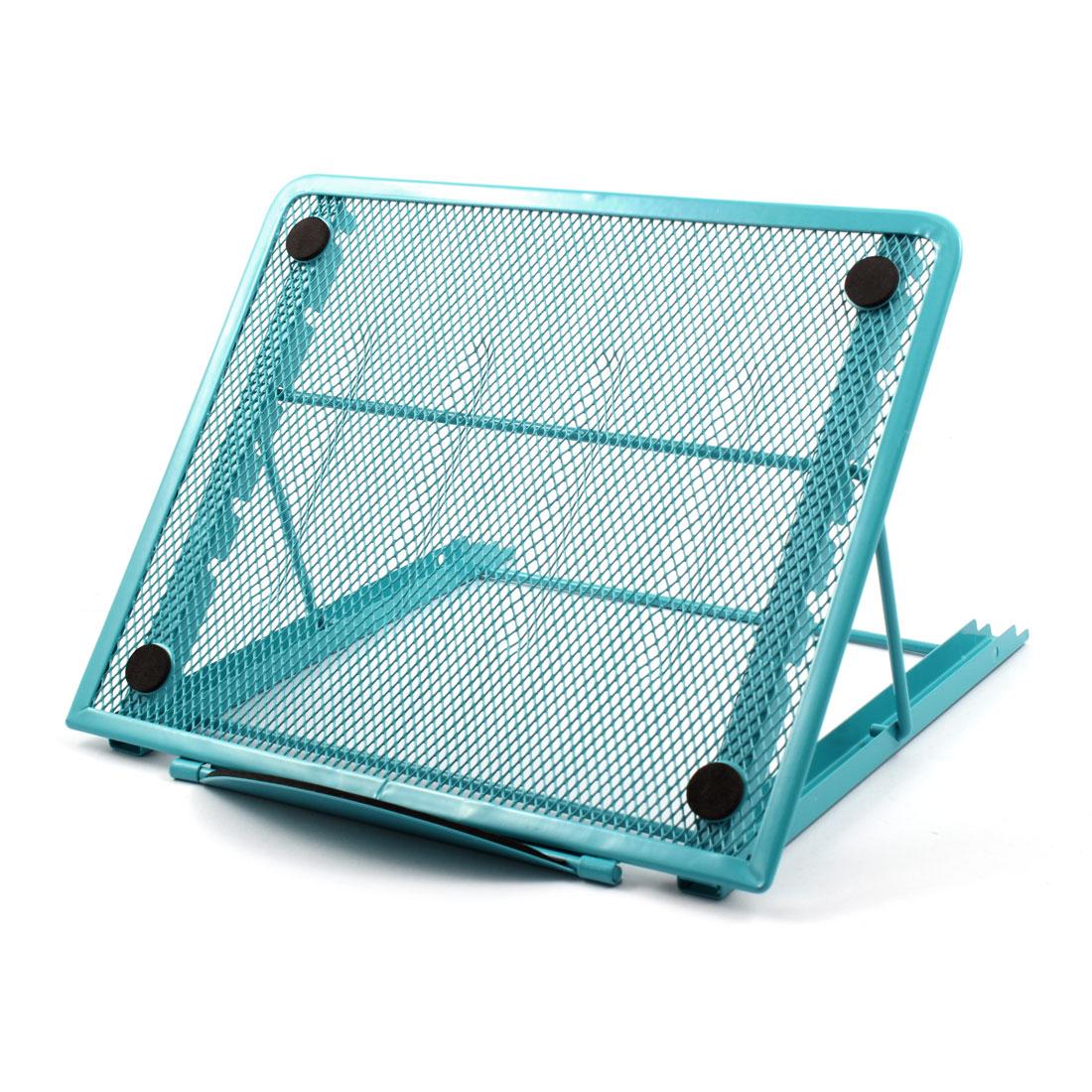 Home Tablet Desk Metal 6 Slots Adjustable Foldable Stand Bracket Holder Blue