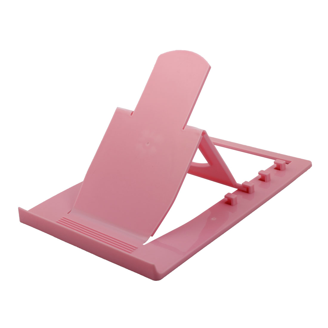 Tablet PC Desk Plastic 4 Slots Adjustable Foldable Stand Bracket Holder Pink