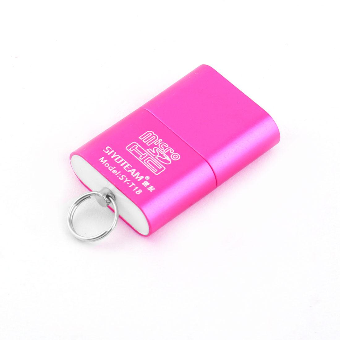 High Speed Mini USB 2.0 Micro SD T-Flash Memory Card Reader Adapter Fuchsia