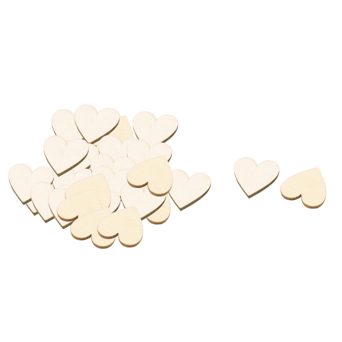 Wooden Love Heart Shaped Wedding Decor DIY Accessories Embellishment Beige 20 x 17mm 30 Pcs